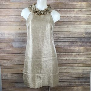 London Times Gold Shimmer Ruffle Dress